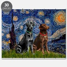 Starry Night - Two Labradors (Chocolate and.png Pu