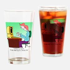 Computer Cartoon 8986 Drinking Glass