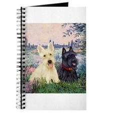 Scottish Terriers (two-BW) - By the Seine.png Jour