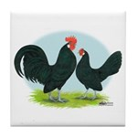 Black Dutch Bantams Tile Coaster