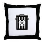 Skull Trash Throw Pillow