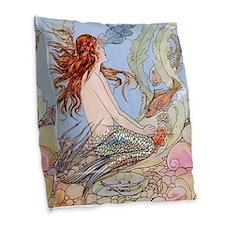 Warwick Goble Mermaid! Kids Burlap Throw Pillow