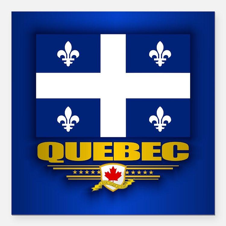"Quebec Flag Square Car Magnet 3"" x 3"""
