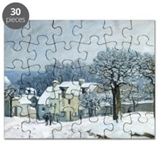 The Place du Chenil at Marly le Roi, Snow - Puzzle