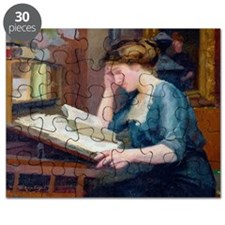 Reading (oil on canvas) - Puzzle