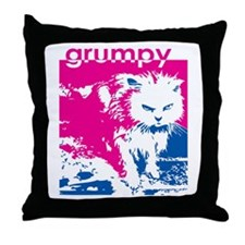 Grumpy Kitty Pink Throw Pillow