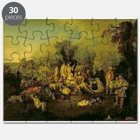 Gypsy Encampment (oil on canvas) - Puzzle