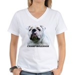 BULLDOG SMILES Women's V-Neck T-Shirt