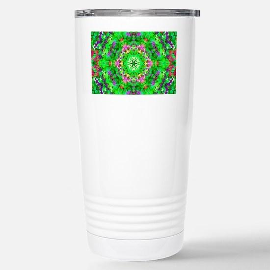 Green Floral Pattern Stainless Steel Travel Mug