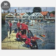 Towards the Boathouses, Henley, 1997 (oil - Puzzle