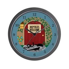 Reptiles Welcome Wall Clock (teal)