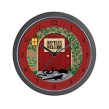 Reptiles Welcome Wall Clock (red)