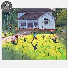 Cricket, Sri Lanka, 1998 (oil on canvas) - Puzzle