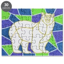 Polar Bear on Stained Glass - Puzzle