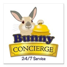 "Bunny Concierge Square Car Magnet 3"" x 3&quot"