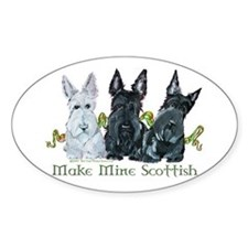 Scottish Terrier Trio Oval Decal