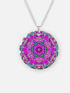 Funky Purple Floral Pattern Necklace