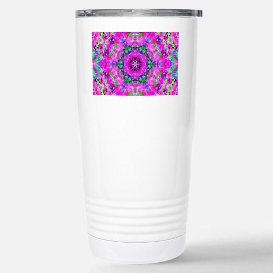 Funky Purple Floral Pat Stainless Steel Travel Mug