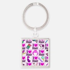 LOVE HAIR Square Keychain