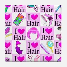 LOVE HAIR Tile Coaster