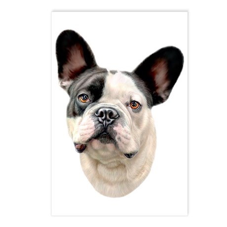 French Bulldog BW Bust Postcards (Package of 8)