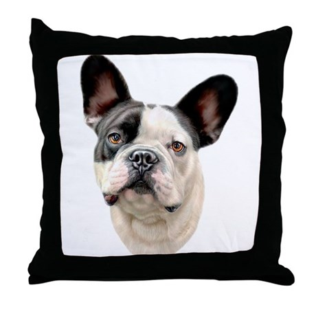 French Bulldog BW Bust Throw Pillow