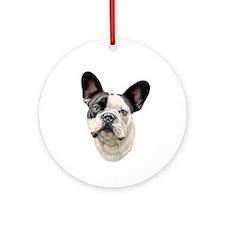 French Bulldog BW Bust Ornament (Round)