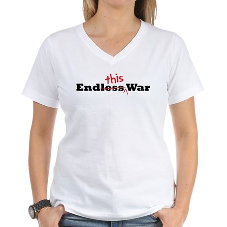 End This War Women's V-Neck T-Shirt