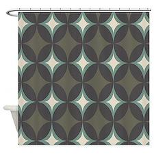 Diamond Retro Olive Geometric Shower Curtain