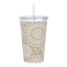Champagne Lace crochet Acrylic Double-wall Tumbler
