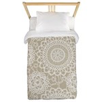 Champagne Lace crochet style Twin Duvet