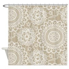 Champagne Lace crochet style Shower Curtain