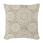 Champagne Lace crochet style Woven Throw Pillow