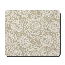 Champagne Lace crochet style Mousepad