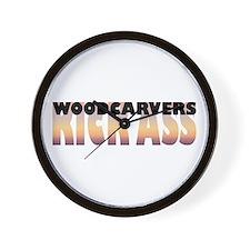 Woodcarvers Kick Ass Wall Clock