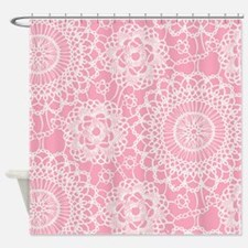 Pink Lace Doily Shower Curtain