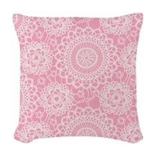 Pink Lace Doily Woven Throw Pillow
