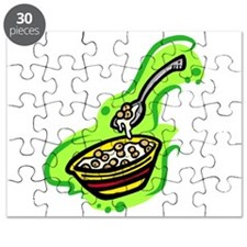 cereal bowl spoon & milk on bold green background.