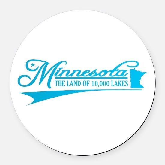 Minnesota State of Mine Round Car Magnet