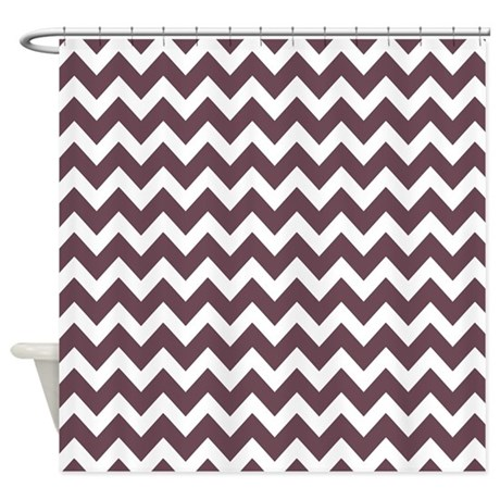 Plum And White Chevron Shower Curtain By Bimbys