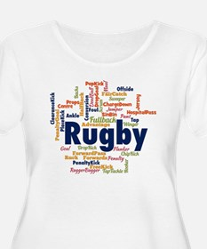 Rugby Word Cloud Plus Size T-Shirt