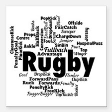"Rugby Word Cloud Square Car Magnet 3"" x 3"""