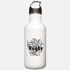 Rugby Word Cloud Water Bottle