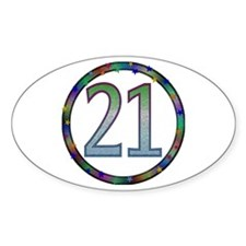 21st Birthday Buttons and Magnets Oval Decal