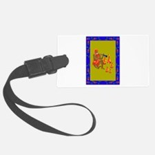 man playing flute dancing flames Luggage Tag