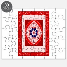 a fancy red rug. Puzzle