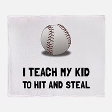 Hit And Steal Baseball Throw Blanket