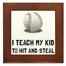 Hit And Steal Baseball Framed Tile