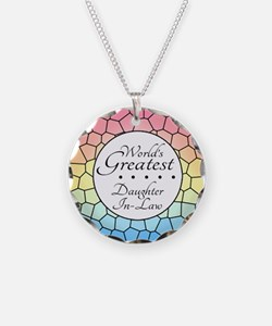Daughter-In-Law (Stained Gla Necklace Circle Charm