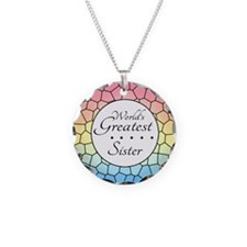 Sister (Stained Glass) Necklace Circle Charm